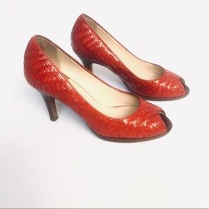 COLE HAAN RED LEATHER WOVEN PEEP TOE HEELS
